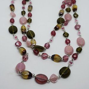 Layered Glass and Plastic Bead Strand Necklace